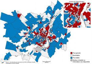 Carte 1: Proportion de familles monoparentales dans le quartier par rapport à la proportion dans l'ensemble de la région métropolitaine