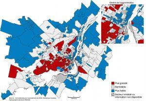 Carte 2 : Proportion de familles à couple marié dans le quartier par rapport à la proportion dans l'ensemble de la région métropolitaine