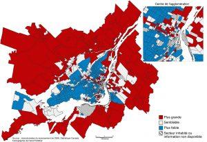Carte 3 : Proportion de familles à couple en union libre dans le quartier par rapport à la proportion dans l'ensemble de la région métropolitaine